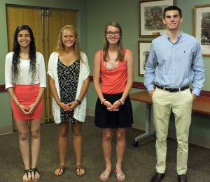 2016 High School Scholarship Recipients from left: Elsy Nouna - Otsego High School; Katelyn Clark - Allegan High School; Cecilia Cerven - Allegan High School; Elijah Adams - Plainwell High School. Absent from photo: Israel Llerena - Bangor High School.